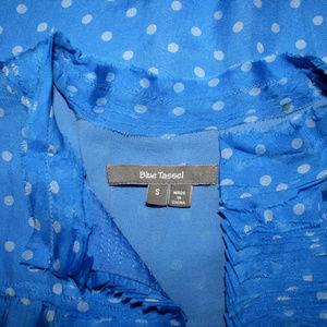 Blue Tassel Tops - Blue Tassel Small Polka Dot Silk Sleeveless Top